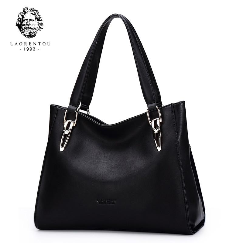 LAORENTOU Brand Elegant Lady Handbag Cowhide Leather Purse For Women Large Capacity Female Stylish Messenger Bags Commuter Style