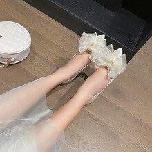 Ladies Shoes Pearl Women Pumps Stiletto High-Heels White Feminino Bow Sapato Fairy-Style
