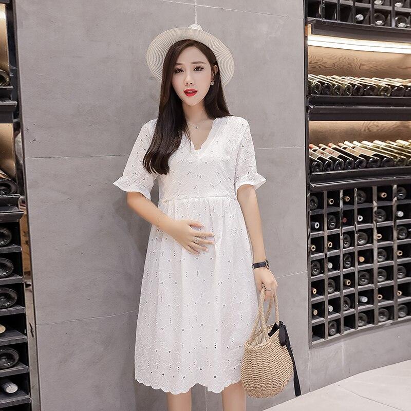 1692# Sweet V Neck Hollow Out Lace Cotton Maternity Nursing Dress Ties Waist Slim Breastfeeding Clothes Summer Fashion Feeding