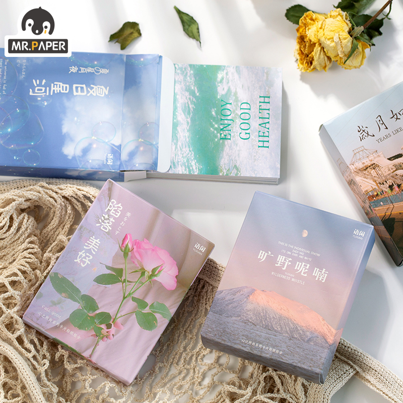 Mr.paper 50+5pcs Card Set Ins DIY Holiday Greeting Card With Envelope Handmade Dry Flower Wedding Party Invitation Envelopes