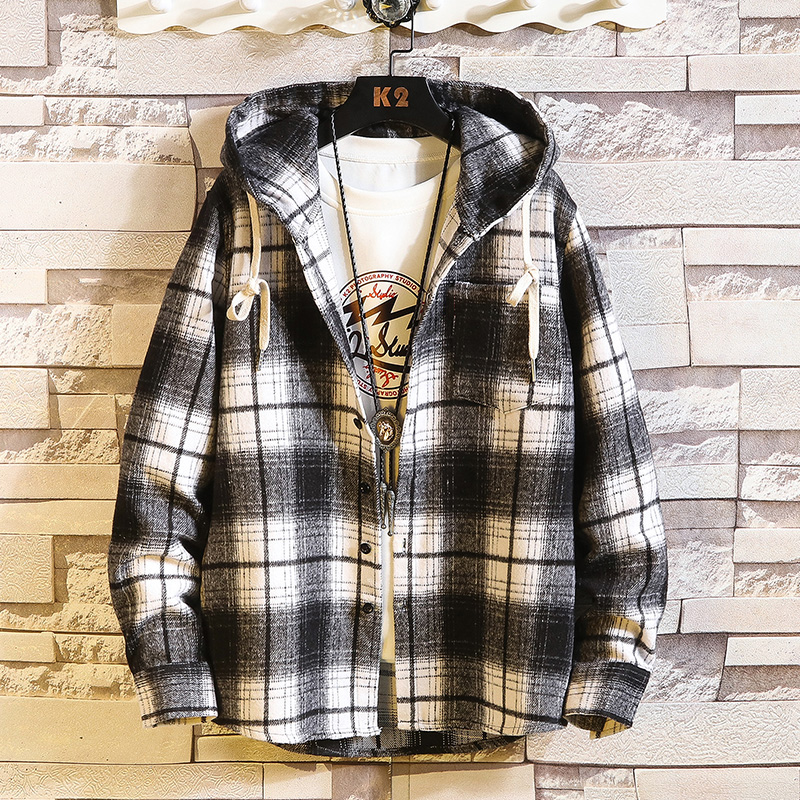 2020 New Arrived Plaid Hoodie Sweatshirt Men Flannel Fleece Style Hip Hop High Street Casual Cardigan Long-Sleeved