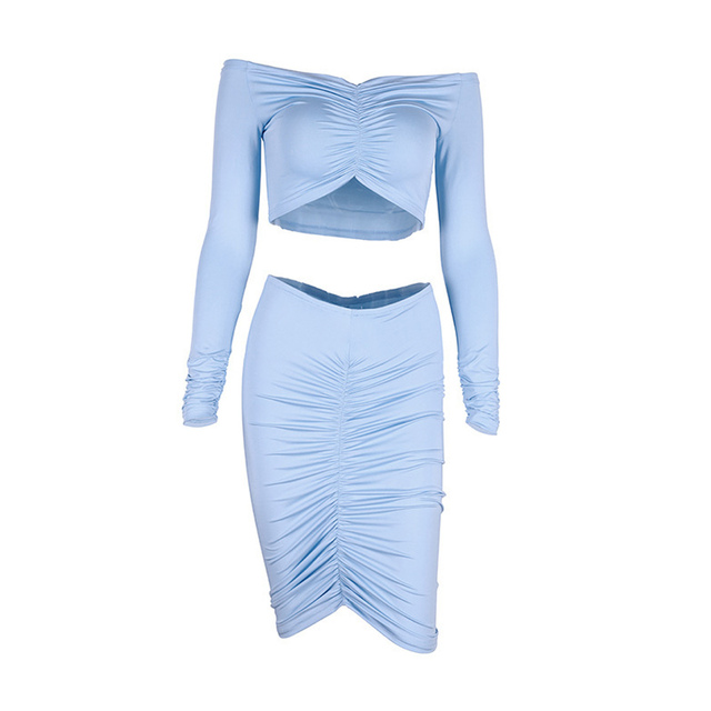 Fleur Wood Smocking Tube Top Hip Skirt Set Off-the-Shoulder Short Tops Long Sleeve Slash Neck Slim Fit Kit Sexy Women Clothing 10
