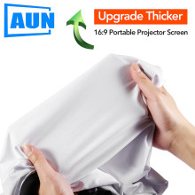 AUN Upgrade Thicker Projector Screen, Optional 100/120/133 inch 16:9,Portable Washable screen for home theater(China)