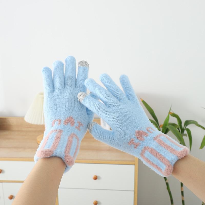 2021 New Mink Fleece Touch Screen Gloves Hand Warmer Kawaii Warm Women's Winter Gloves Cycling Thick Windproof Non-slip Gloves