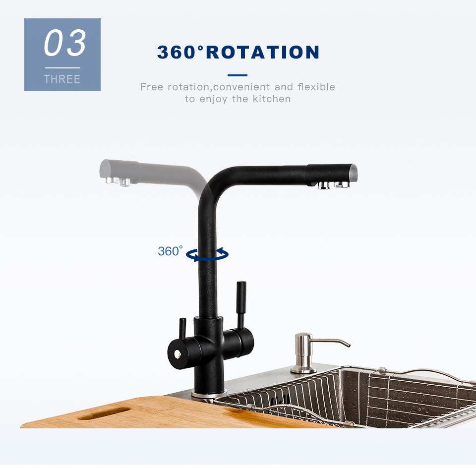 H24e333ed8a714f8cbdb60ec4b9a386c96 Frap New Black Kitchen sink Faucet mixer Seven Letter Design 360 Degree Rotation Water Purification tap Dual Handle F4352 series