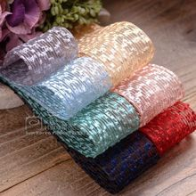 100yards 25mm 40mm jacquard floweret organza sheer ribbon for hair bow headband diy handcraft supplies bouquet packing