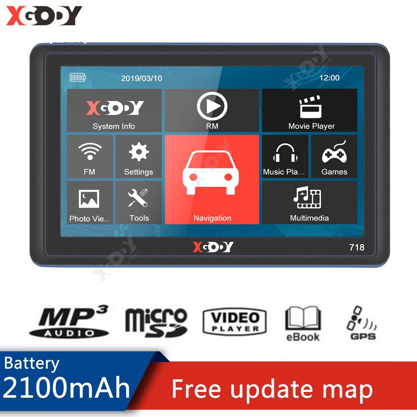 Xgody GPS-навигатор для автомобиля 7 дюймов 128 + 8 Гб, GPS-навигатор для грузовика, сенсорный экран, Fm, Россия, Европа, Америка, Бесплатная карта 2020, GPS ...