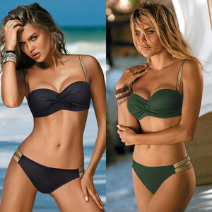 Image 5 - 2020 nouvelles feuilles imprimer Bikini maillot de bain femmes Push Up Bikini ensemble maillot de bain Bandeau maillot de bain brésilien Biquini femme