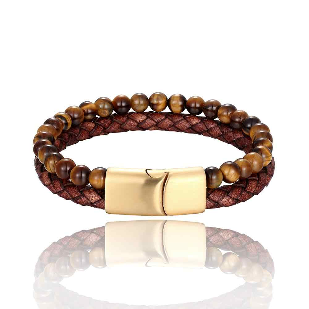 Genuine Leather Bracelet For Men Stainless Steel Magnetic Button Birthday Gift Natural Stone Yoga Beaded Bracelet Male Bangles