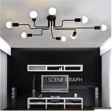 מרובה מוט יצוק ברזל נברשת לסלון בציר אורות תעשייתי לופט נורדי בית גופי תאורה
