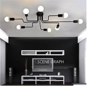 Image 1 - Люстра из кованого железа, с несколькими стержнями, для гостиной, винтажные светильники, промышленные, для чердака, нордическое домашнее освещение