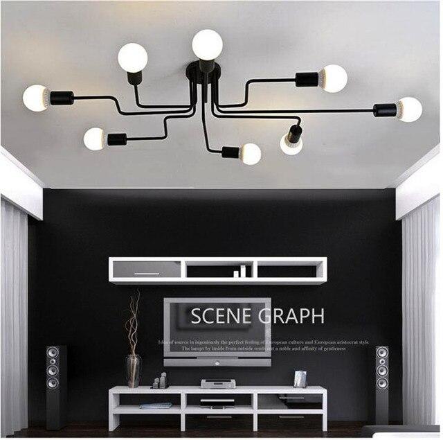 Люстра из кованого железа, с несколькими стержнями, для гостиной, винтажные светильники, промышленные, для чердака, нордическое домашнее освещение