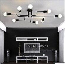 Multiple Rod Wrought Iron Chandelier for Living Room Vintage Lights Industrial Loft Nordic Home Lighting Fixtures