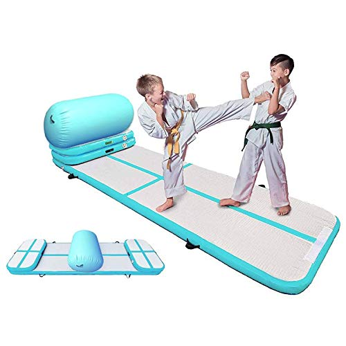 Inflatable Air Track Gymnastics Mattress Tumbling Floor Mat Air Tumble Track Yoga Gym Home Use Air Pump 1 Set 6 Pieces