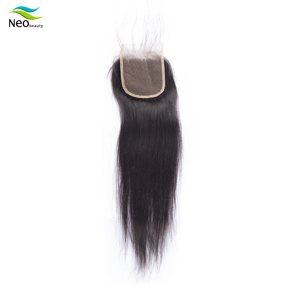 10A Human Hair Brazilian 4x4 Lace Closure Pre-plucked With Baby Hair Silky Straight Closure