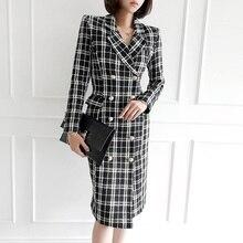 HAMALIEL/Высококачественная модная твидовая двубортная верхняя одежда зимняя женская черная и белая шерстяная ткань в клетку плотное теплое пальто