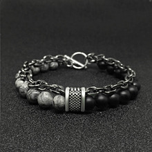 Tiger Eye Stone men's beads bracelet stainless steel wheat c