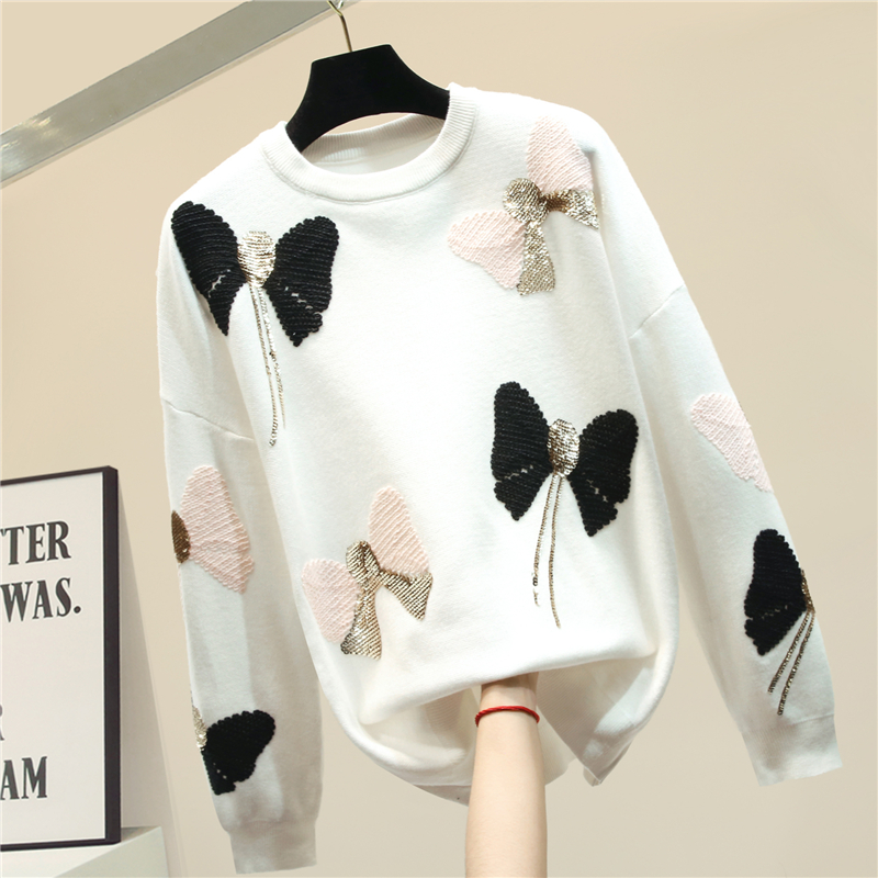 Sequined Bow Sweater Women's 2020 New Thick Autumn And Winter Sweater Coat Loose Sweaters Girls Ladies Pullover Pull Femme