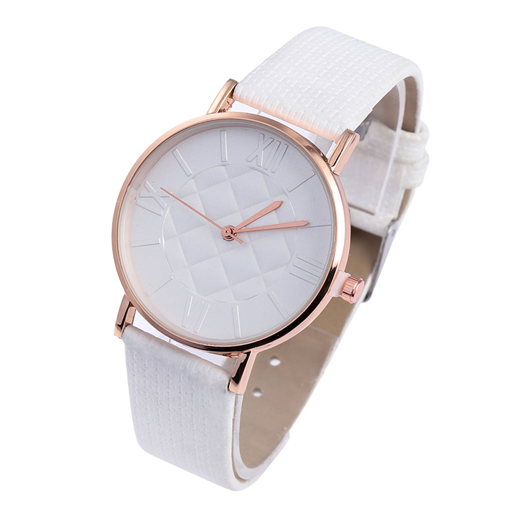 Comfortable Couple Watches Ladies Casual Quartz Watches Simple Fashion Round Dial Soft Leather Strap LXH