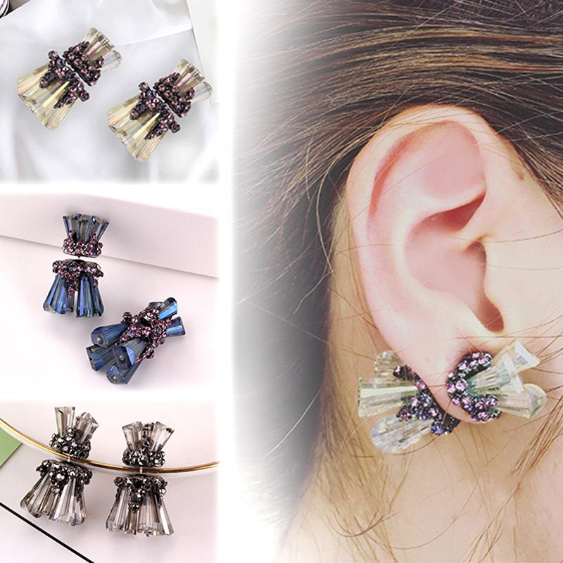 New Earrings Female New Creative Colored Glaze Female Fashion Style 1Pair Crystal Flash Drill Elegant Double Sided Stud Earring(China)