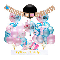 48PCS Gender Reveal Balloon Party Supplies 36 Inch Gender Reveal Boy or Girl Banner Confetti Foil Balloon 1Set Photo Props