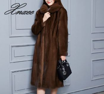 Xnxee coat female long section 2020 new fur grass large size was thin S-6XL