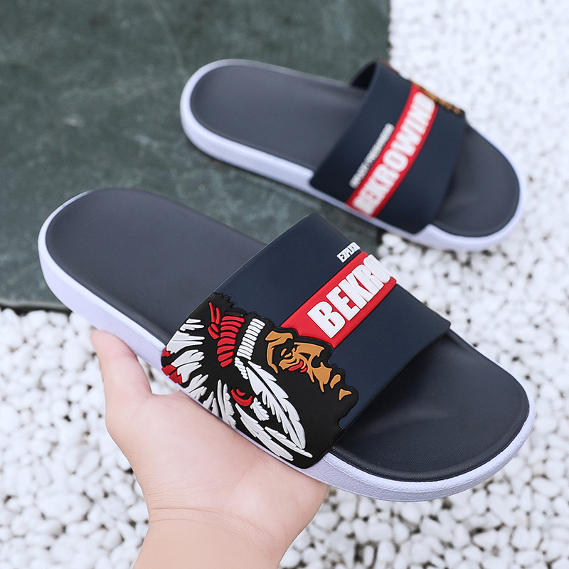 Black White Printed Non-slip Slippers Slide Flip Flop Sandals Summer Comfortable for Mens