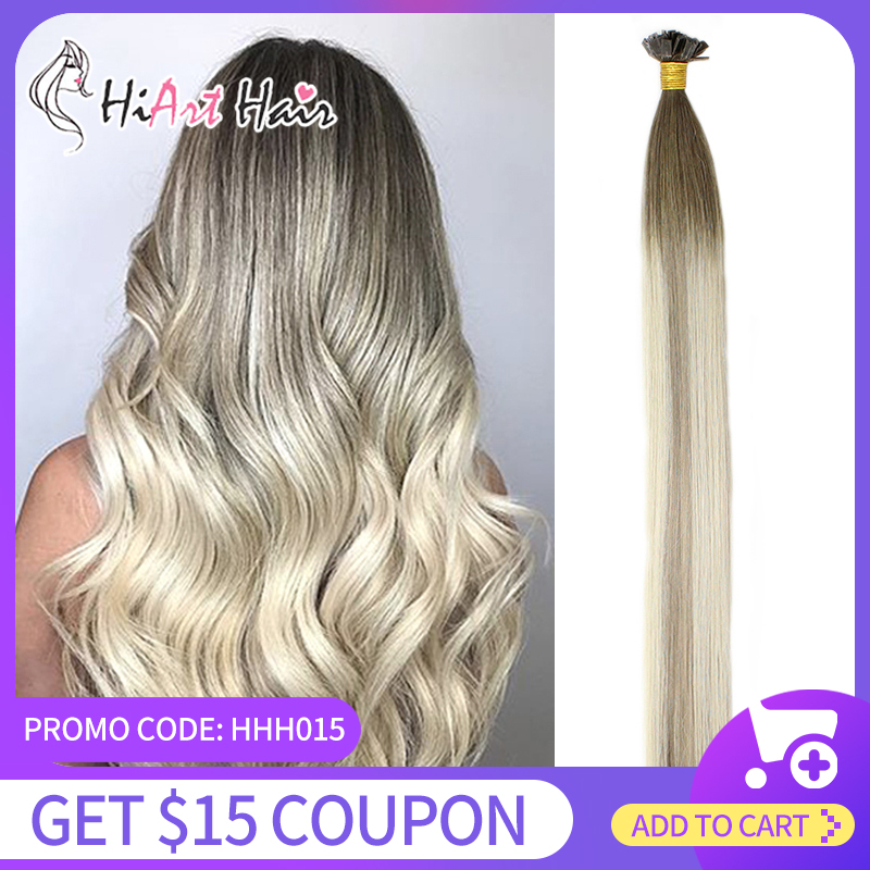 HiArt 0.8g/s Flat Tip Hair Extensions Salon Double Drawn Human Remy Hair Factory Keratin Capsules Extension Straight Balayage 1