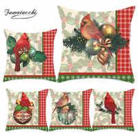 Fuwatacchi Frohe Weihnachten Kissen Abdeckung Vogel Polyester Kissenbezug Sofa Polster Kissen Haus Dekoration Kissen Abdeckung 45*45