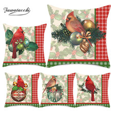 Fuwatacchi Merry Christmas Cushion Cover Bird Polyester Pillowcase Sofa Upholstery Pillows Home Decoration 45 *