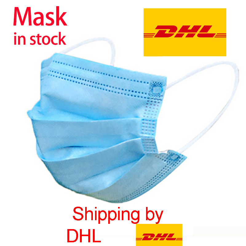 Anti-Pollution 3 Laye Mask DHL Express Delivery Dust Protection Masks Disposable Face Masks Elastic Ear Loop Safety Mask