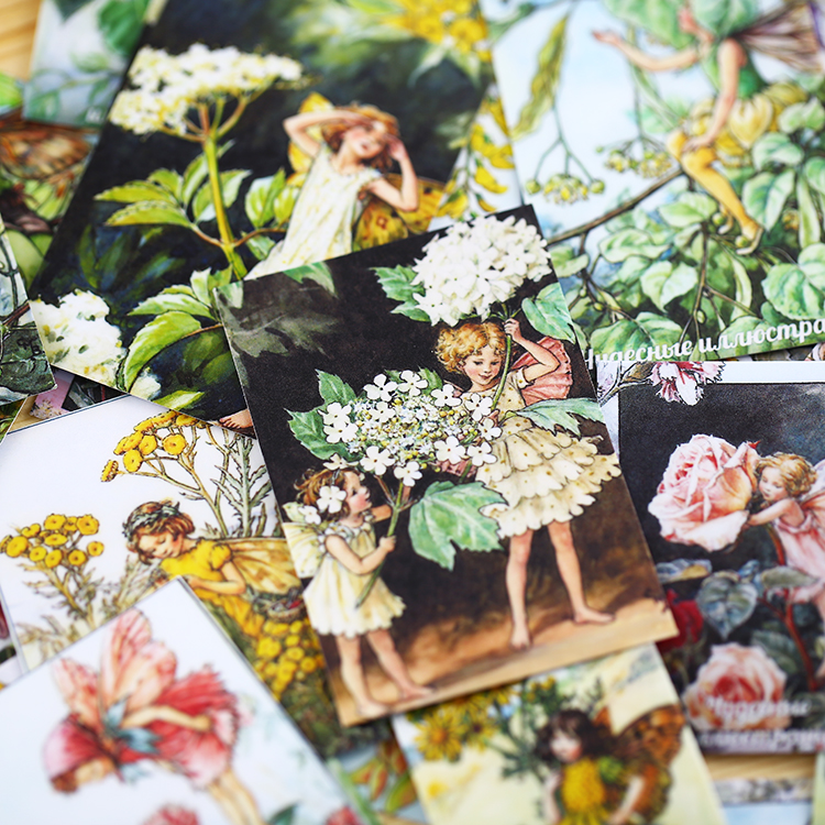 33pcs Flower Fairy Alice Elf Flower Forest Angel Material Paper Scrapbooking DIY Projects/photo Album/card Making Craft\Stickers