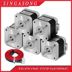 5Pcs Free Shipping Nema17 Stepper Motor 1.5A Nema 17 42BYGH 17HS4401 4 Lead for 3D Printer CNC Engraver