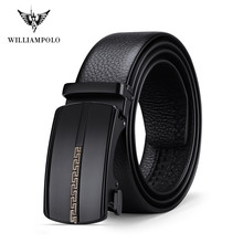 william polo Men's Leather Ratchet Belt With Elegant Automatic Buckle Genuine Le