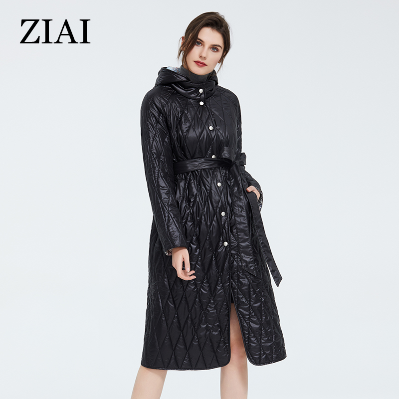 ZIAI 2020 Women Jacket Coat Spring Parka Long Hooded Green Coat Belt Button Pocket Lined Print Office Lady Hotsale Stock ZM-9428