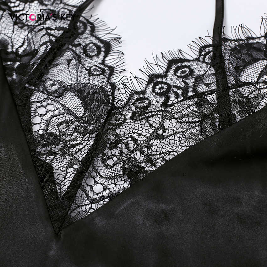 Suphis Sexy Zwarte V-hals Mouwloze Top Satin Cami En Mesh Lace Shorts Pj Set 2019 Herfst Nachtkleding Vrouwen Pyjama sets