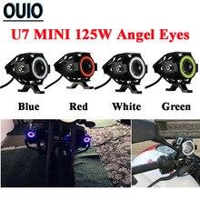 2PCS LED Motorcycle Headlight 125W U7 Mini Angel Eye Bulbs Scooter Motorbike Lamp 12V Led Light Blue Red White Green