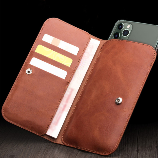 MYL 38W Multi function Handmade Pure Genuine Leather Wallet For iPhone 11 Pro Max 7 8 Plus Xs Max Real Cowhide Pouch Bags Case