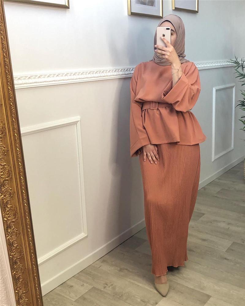 Elegant Two Pieces Muslim High Demand Blackout Islamic Sets Women's Abaya Long Stretch Two Pieces Prayer Abayas F2798
