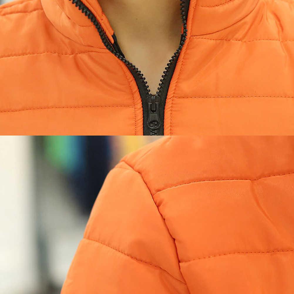 겨울 자켓 남자 솔리드 컬러 파커 스탠드 칼라 긴 소매 파카 웜 코튼 퀼트 코트 자켓 S-lim Men's Coat erkek mon