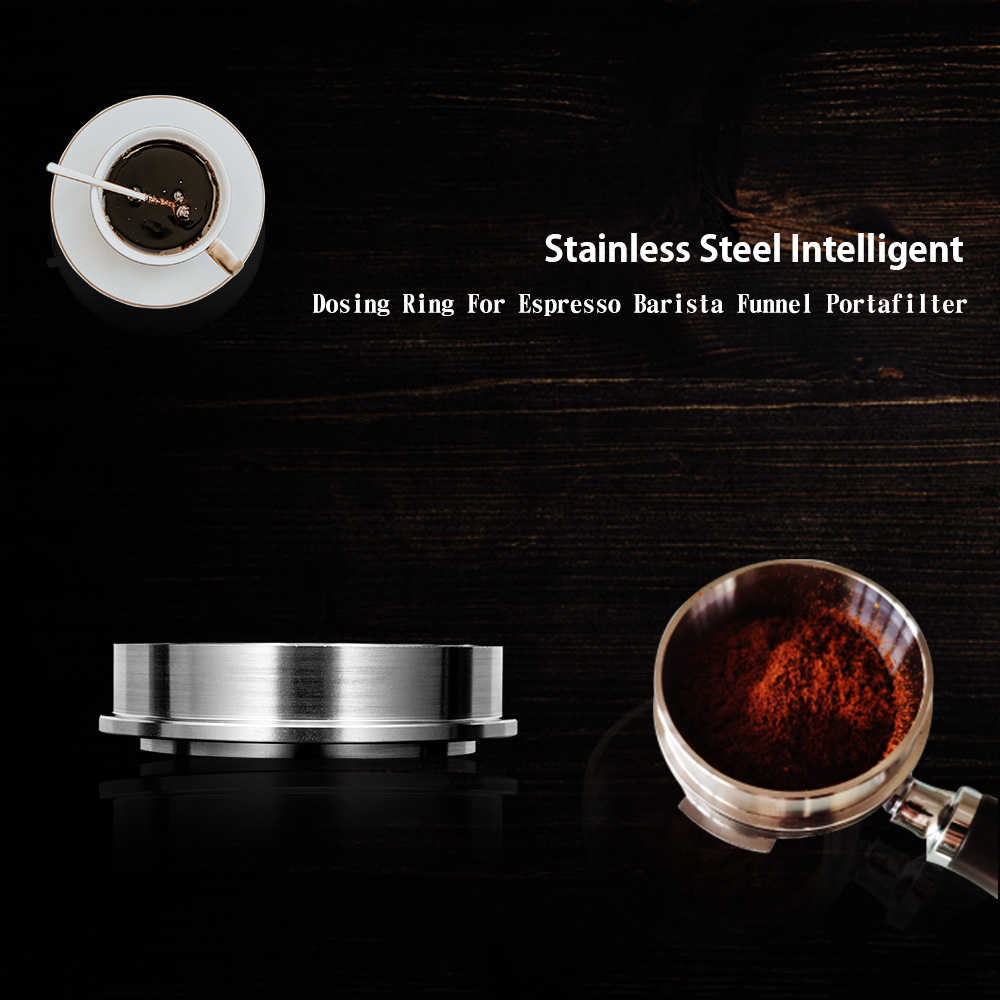 Universal 51mm Stainless Steel Anti‑Fly Powder Coffee Dosing Funnel Silver