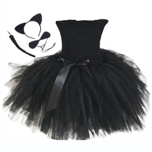 Black Halloween Cat Costume Fluffy Knee Length Girls Summer Dresses Child Bunny Bow Sleeveless Tutu Dress with Ear Headband