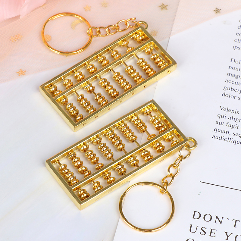 NEW Copper Crafted Gold Gilt Chinese Traditional Calculator Abacus Key chain