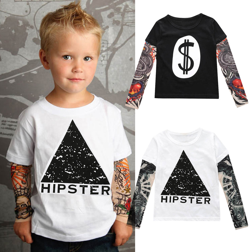 Baby Boys Girls Sunscreen Tattoo Sleeve T-Shirt Toddler Kids Cotton Tees Tops Summer Outfits