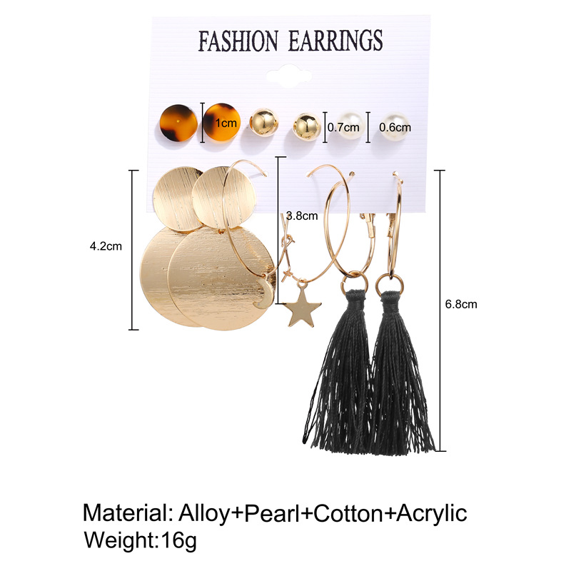 H24e574e80c644853aebca48bd094d0d4f - IF ME Fashion Vintage Gold Pearl Round Circle Drop Earrings Set For Women Girl Large Acrylic Tortoise shell Dangle Ear Jewelry