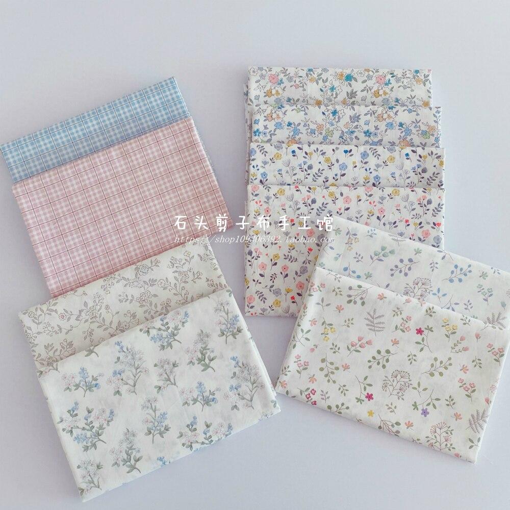 Pano de algodão para crianças, 50cm x 160cm impressão branco sarja floral tecido diy roupa de crianças pano faça você mesmo manta decoração casa 180 g/m