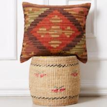 Cojines Kilim alfombra Kilim cubierta cuadrada Tribal tejido a mano de lana hecho a mano 19 francés país Chicshabby sofá clásico decorativo