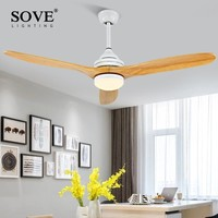SOVE 52 inch Nordic Modern Ceiling Fan Wood Without Light Wooden Ceiling Fans With Lights DC 220v fan+lamp ventilador de techo