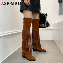 SARAIRIS Brand New Plus Size 32-49 Thigh High Boots Fringe Chunky Heels Shoes Woman Casual Party Over The Knee Women