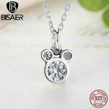 BISAER New Collection Genuine 925 Sterling Silver Dazzling Miky Mouse Pendant Necklaces for Women Jewelry CN068